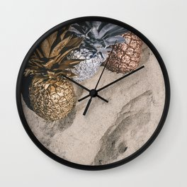 GOLD AND SILVER PINEAPPLES IN THE SAND Wall Clock