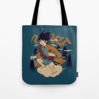 dragonball Tote Bags featuring woodblockkakarot by Louis Roskosch