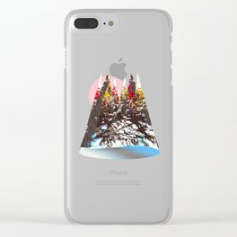 """Trees, Mountains, Flowers, Sun Vector Illustration V2"" Clear iPhone Case"
