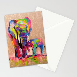 Elephants mother and son Stationery Cards