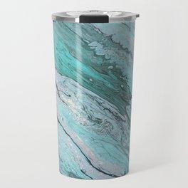 Arylic Pouring - Teal & Silver Travel Mug