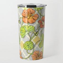Climbing Nasturtiums in Lemon, Lime and Tangerine Travel Mug