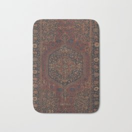 Boho Chic Dark I // 17th Century Colorful Medallion Red Blue Green Brown Ornate Accent Rug Pattern Bath Mat