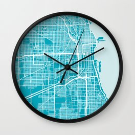 Chicago Map | Blue & Cyan | More Colors, Review My Collections Art Print Wall Clock