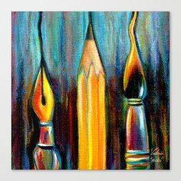 Pen, Pencil, Brush Canvas Print