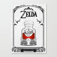the legend of zelda Canvas Prints featuring Zelda legend - Red potion  by Art & Be