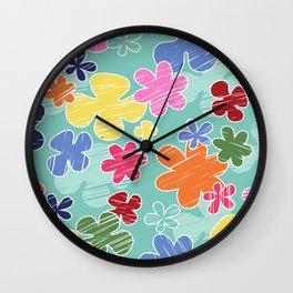 Tropical Flowers, Petals - Pink Green Blue Yellow Wall Clock