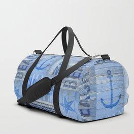 Blue Summer Beach Wood Duffle Bag
