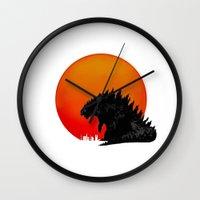 godzilla Wall Clocks featuring Godzilla by Maguire