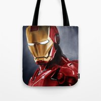 ironman Tote Bags featuring IronMan by San Fernandez