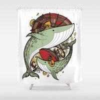 whales Shower Curtains featuring Whales by green penguin