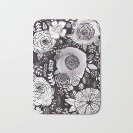 Black&White Floral Mix Bath Mat