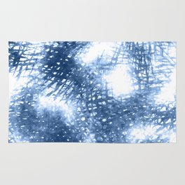 Ink Blue Watercolor Painting Minimalist Design Rug