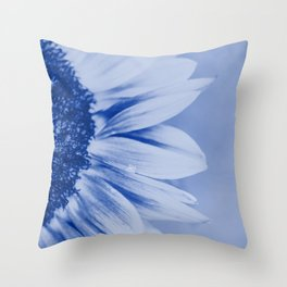 Macro shot of blooming sunflower in with copy-space. Blue toned. Throw Pillow