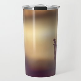 Landscape with Two Giraffes at sunset Travel Mug