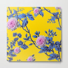 ANTIQUE STYLE PINK & BLUE GARDEN YELLOW COLOR ART Metal Print