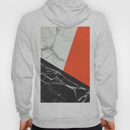 Black and White Marble with Pantone Flame Color Hoody