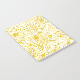 Yellow Floral Doodles Notebook