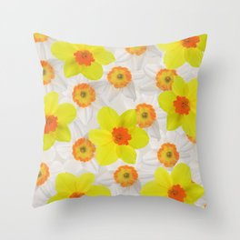 Daffodils blossoms Flowers yellow and white Throw Pillow