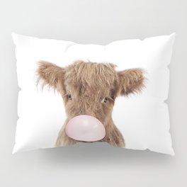Bubble Gum Highland Cow Baby Pillow Sham