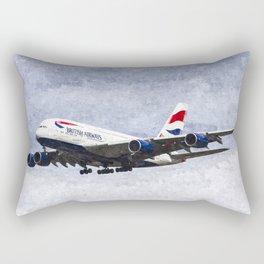 British Airways Airbus A380 Art Rectangular Pillow
