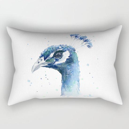 Peacock Watercolor Painting Bird Animal Rectangular Pillow