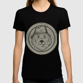 Cool Gift For The Smokey Bear Fan In Your Life T-shirt Design Of A Bear Wearing A Hat In Gray Tone T-shirt