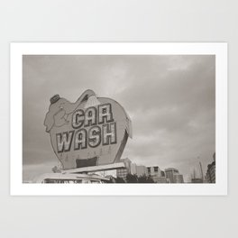 Elephant Car Wash Art Print