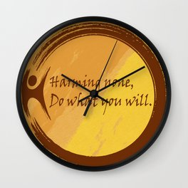 Harming None Do What You Will Color Background Wall Clock