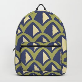 Classic Hollywood Regency Pyramid Pattern 240 Beige Blue and Green Backpack