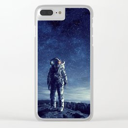 galaxy astronaut Standing alone in Mars Clear iPhone Case