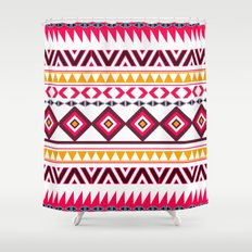 Pink Orange Bright Andes Abstract Aztec Pattern Shower Curtain
