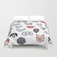 puppies Duvet Covers featuring Pastel Puppies by Elisa MacDougall