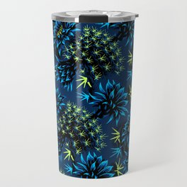 Cactus Floral - Blue/Black/Green Travel Mug