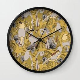 Birds of Prey in Yellow Wall Clock