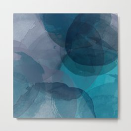 Abstract Watercolor Circles in Ombre Blue Metal Print