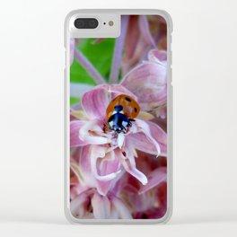 Ladybug on Milkweed Clear iPhone Case