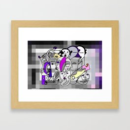 Black White Commotion Framed Art Print