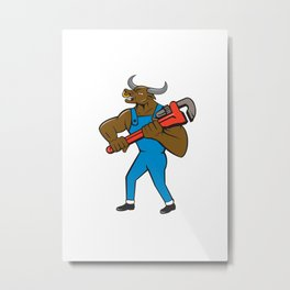 Minotaur Bull Plumber Wrench Isolated Cartoon Metal Print