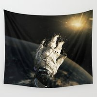 abyss Wall Tapestries featuring floating in the abyss by Seamless