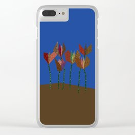 Flower Profiles with Stems (blue) Clear iPhone Case