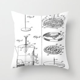 Coffee Filter Patent - Coffee Shop Art - Black And White Throw Pillow