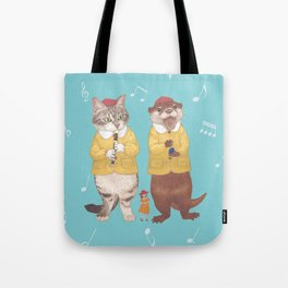 A GIRL WITH CAT and OTTER wide Tote Bag