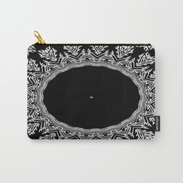 Feathers and Circles Kaleidoscope In Black and White Carry-All Pouch