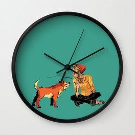 pet the dog Wall Clock