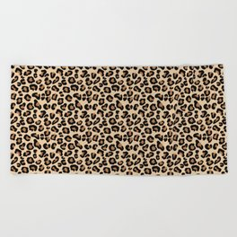 Leopard Print, Black, Brown, Rust and Tan Beach Towel