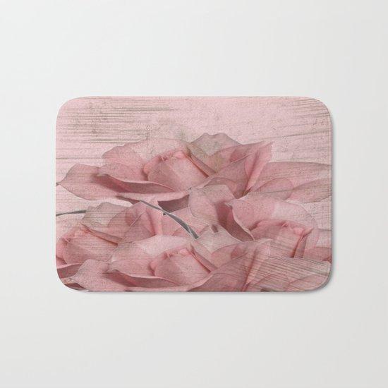 Vintage Pink On Pink Roses Bath Mat