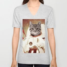 meow astronout Unisex V-Neck