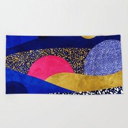 Terrazzo galaxy blue night yellow gold pink Beach Towel