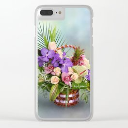 Bouquet with colorful flowers in basket Clear iPhone Case